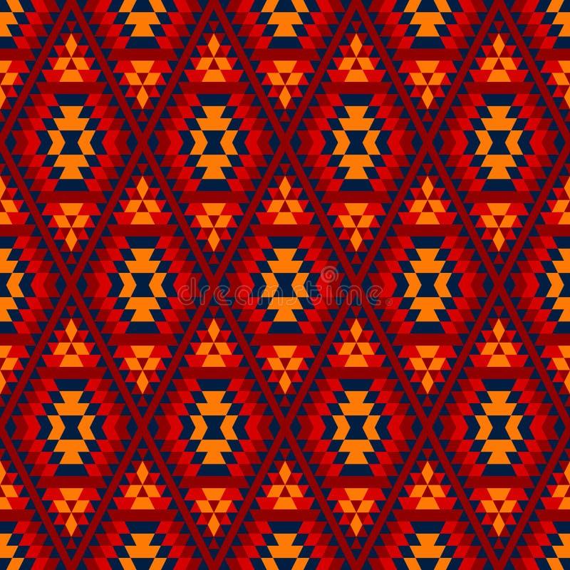De kleurrijke rode gele blauwe Azteekse diamant siert geometrisch etnisch naadloos patroon, vector royalty-vrije illustratie
