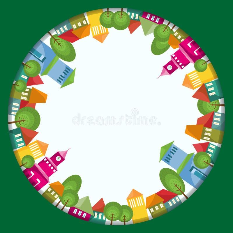 De kleurrijke Samenstelling van de Stadscirkel stock illustratie