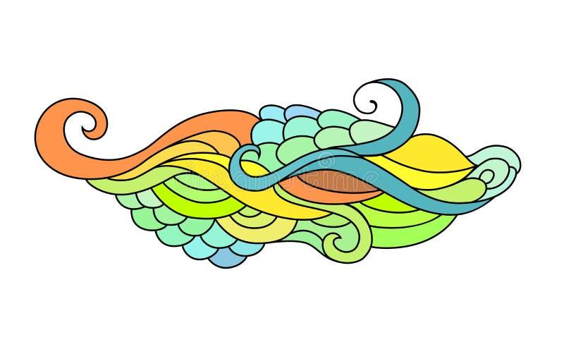 De kleurrijke schets van de zentanglekrabbel Tatoegeringsschets Etnische stammen golvende vectorillustratie royalty-vrije illustratie