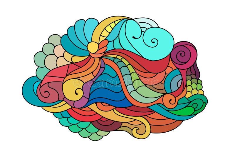 De kleurrijke schets van de zentanglekrabbel Tatoegeringsschets Etnische stammen golvende vectorillustratie stock illustratie