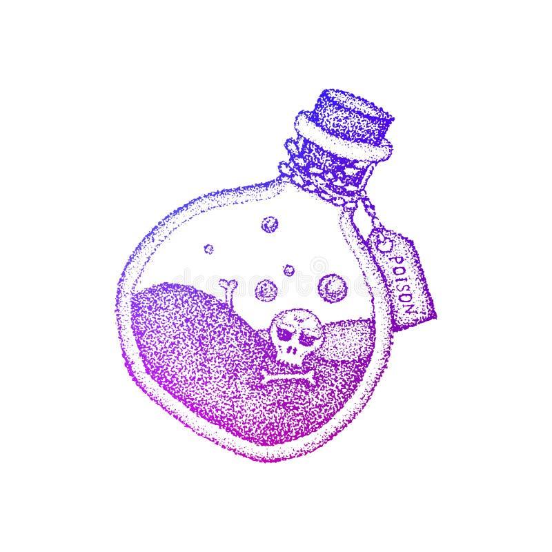 De Kleurrijke Schets van de vergiftfles stock illustratie