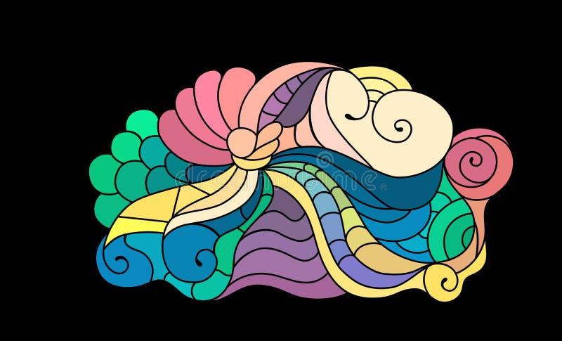 De kleurrijke schets van de zentanglekrabbel Tatoegeringsschets Etnische stammen golvende illustratie royalty-vrije illustratie