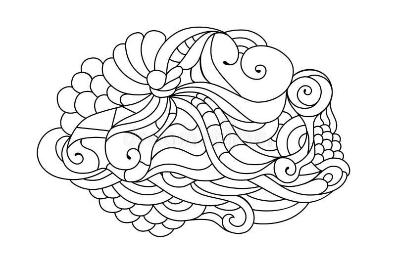 De kleurrijke schets van de zentanglekrabbel Tatoegeringsschets Etnische stammen golvende illustratie Volwassen kleurend boek vector illustratie