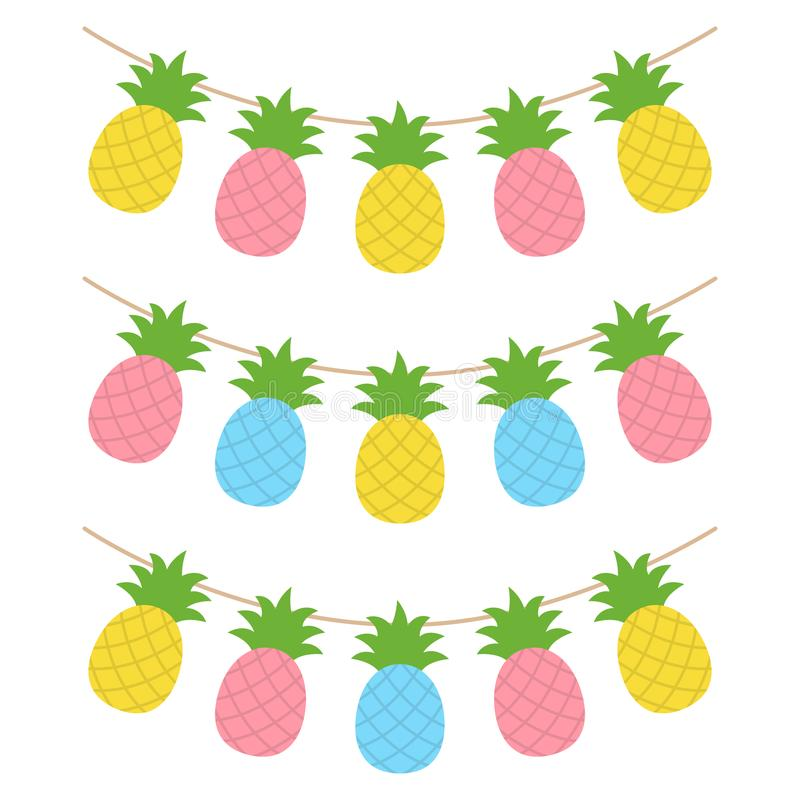 De kleurrijke slinger van het ananas tropische fruit vector illustratie