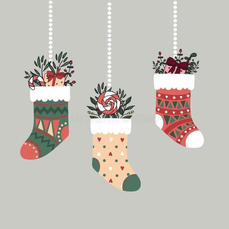 De kleurrijke sokken van beeldverhaalkerstmis met stelt voor stock illustratie