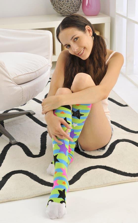 De kleurrijke Sokken van de Knie royalty-vrije stock afbeeldingen