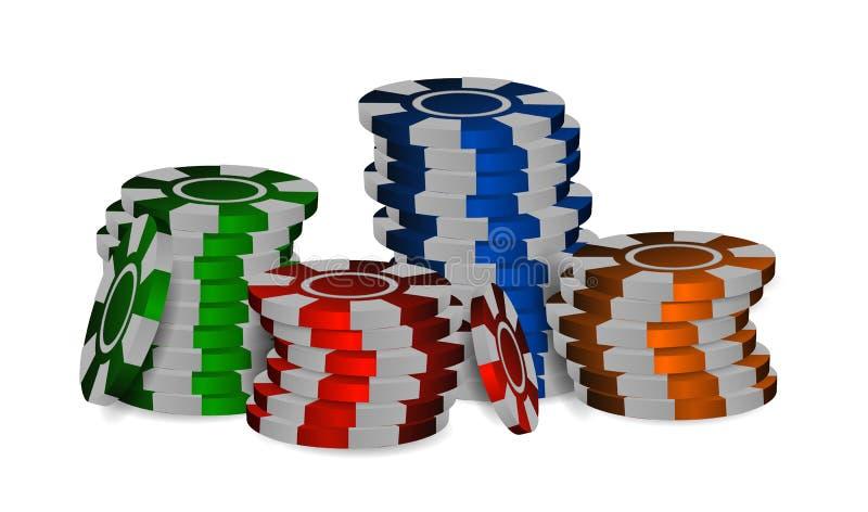 De kleurrijke Spaanders van het Casino De plastic Pook breekt stapels af Ge?soleerdj op witte achtergrond Vector illustratie vector illustratie
