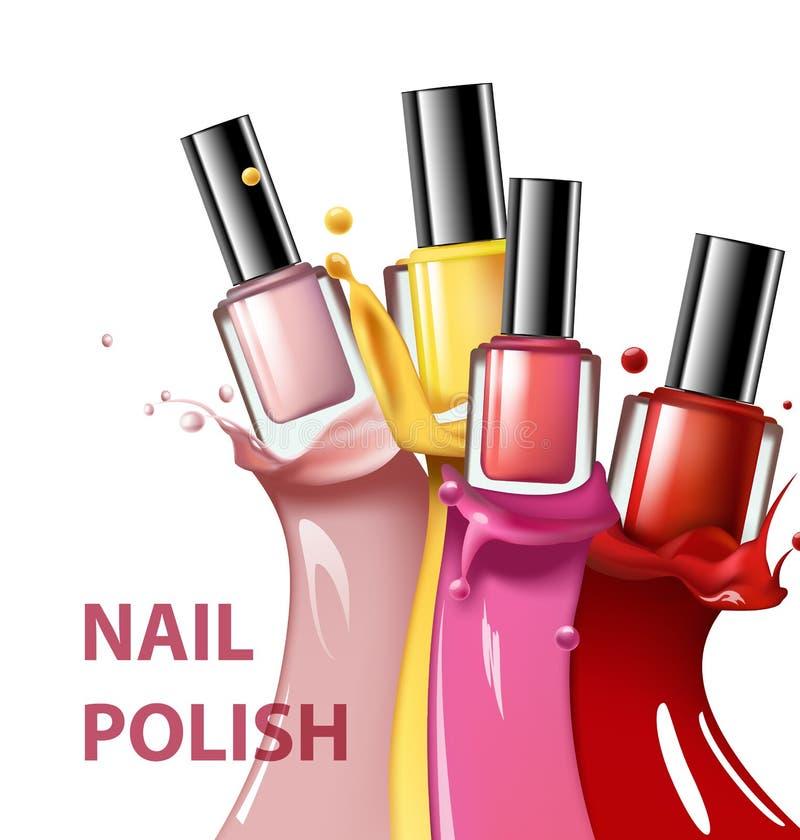 De kleurrijke spijkerlak, nagellak ploetert op witte achtergrond, 3d illustratie, modeadvertenties voor ontwerpschoonheidsmiddele royalty-vrije illustratie