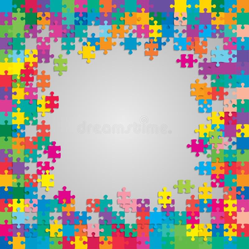 De Kleurrijke Stukken brengen Banner of Kader in verwarring vector illustratie