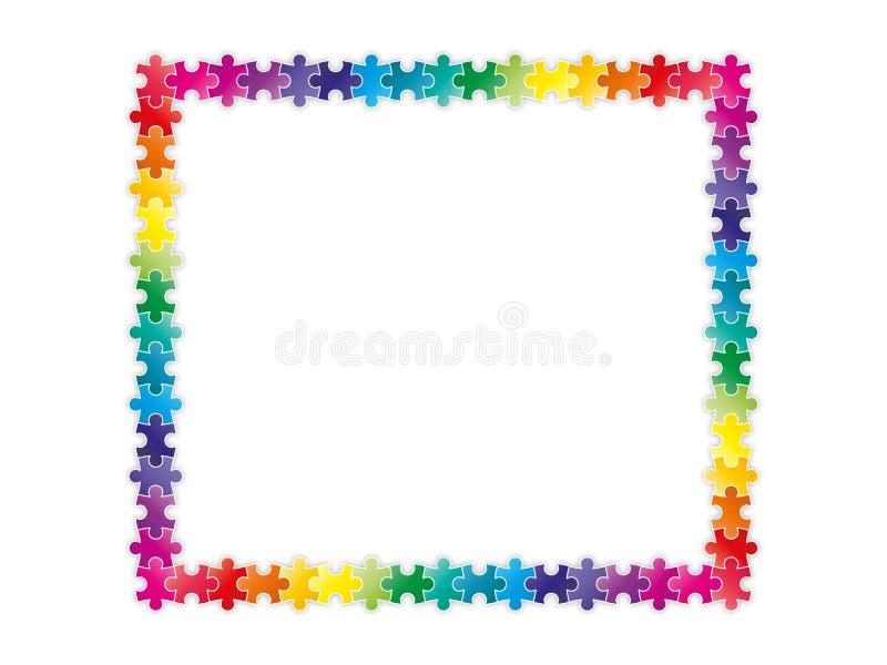 De kleurrijke stukken die van het regenboograadsel een kader vormen vector illustratie