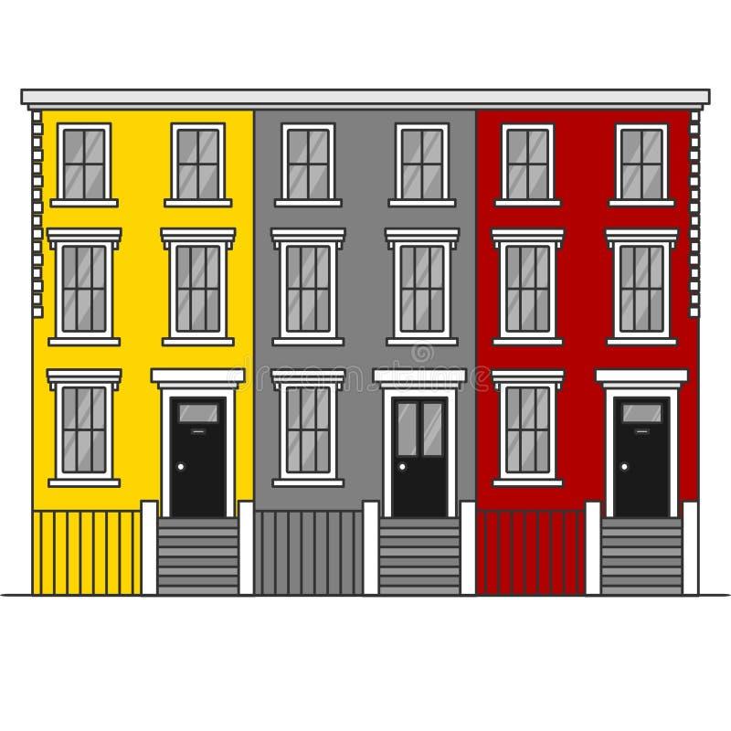 De kleurrijke terrasvormige Heuvel van rijtjeshuizennotting in Londen De Reisoriëntatiepunt van Engeland De architectuur van het  royalty-vrije illustratie