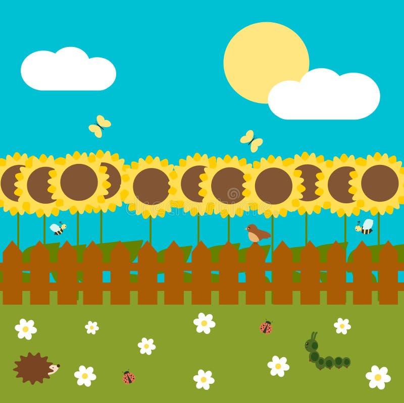 De kleurrijke tuin van de beeldverhaalzonnebloem met omheining in een zonnige illustratie van de daglente royalty-vrije illustratie
