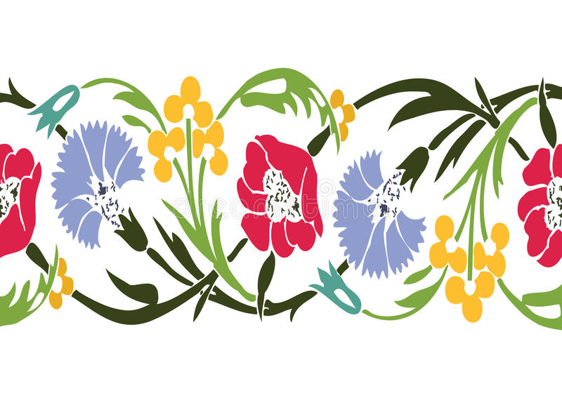 De kleurrijke uitstekende bloemenachtergrond naadloos v van de wildflowersgrens vector illustratie