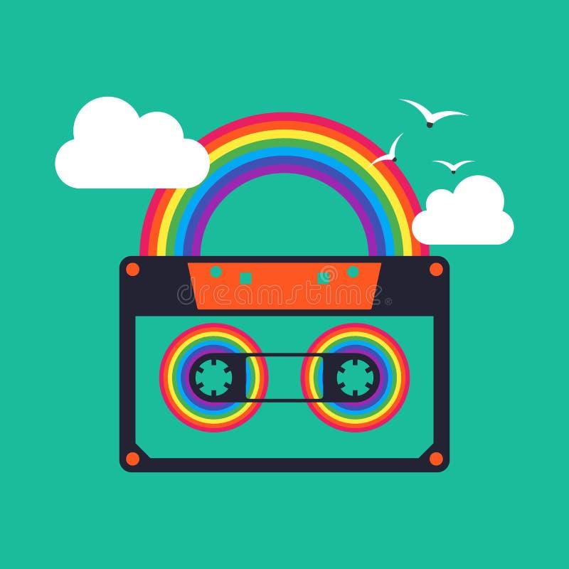 De kleurrijke van de de bandcassette van de muziekregenboog abstracte achtergrond vector illustratie