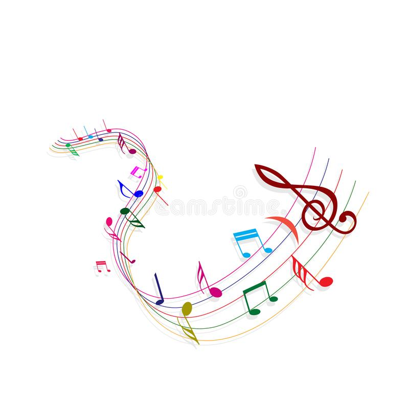 De kleurrijke van de het elementenkleur van de lijnillustratie van het de muzieksymbool pentagram witte achtergrond vector illustratie