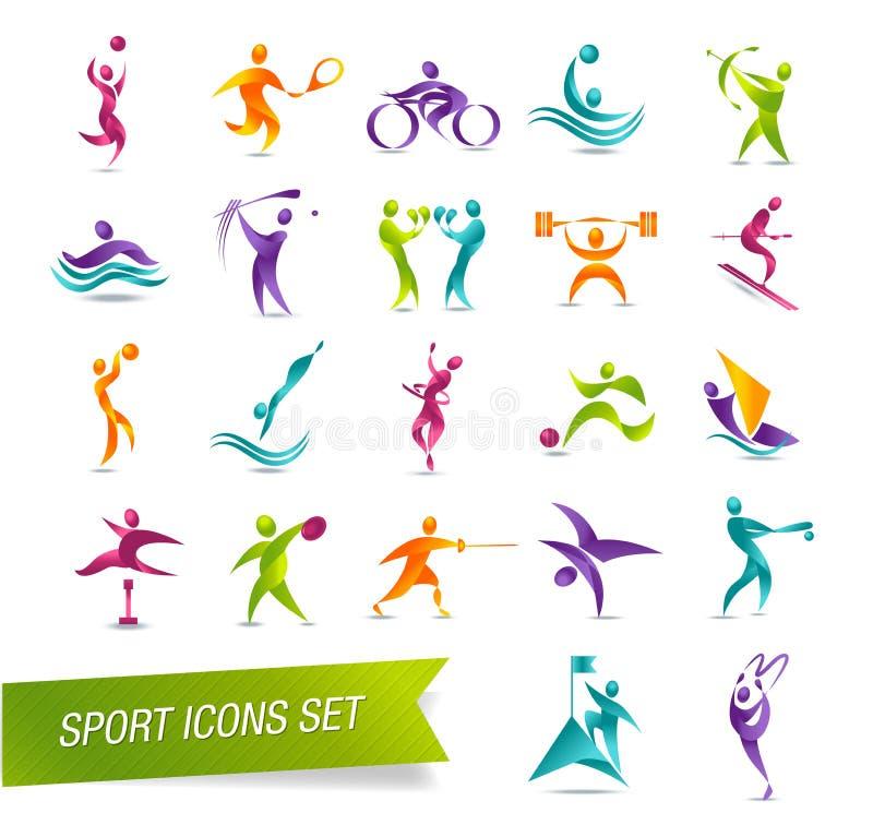 De kleurrijke vastgestelde illustratie van het sportenpictogram stock illustratie