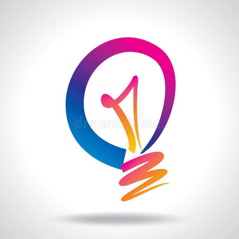 De kleurrijke vector van de ideebol op witte achtergrond royalty-vrije illustratie