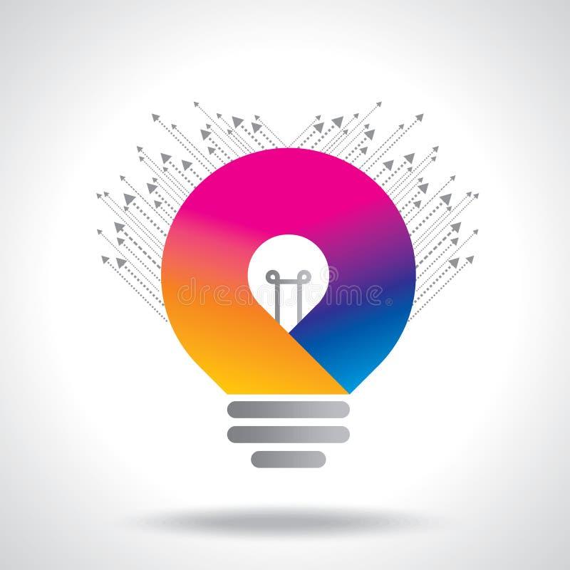 De kleurrijke vector van de ideebol op witte achtergrond vector illustratie
