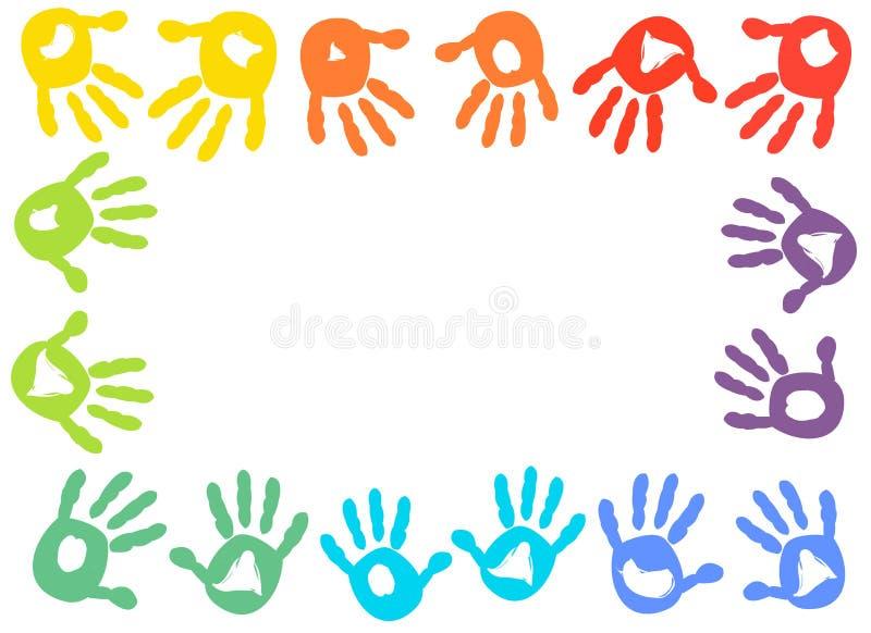 De kleurrijke vectorachtergrond van het jonge geitjes handprint kader royalty-vrije illustratie