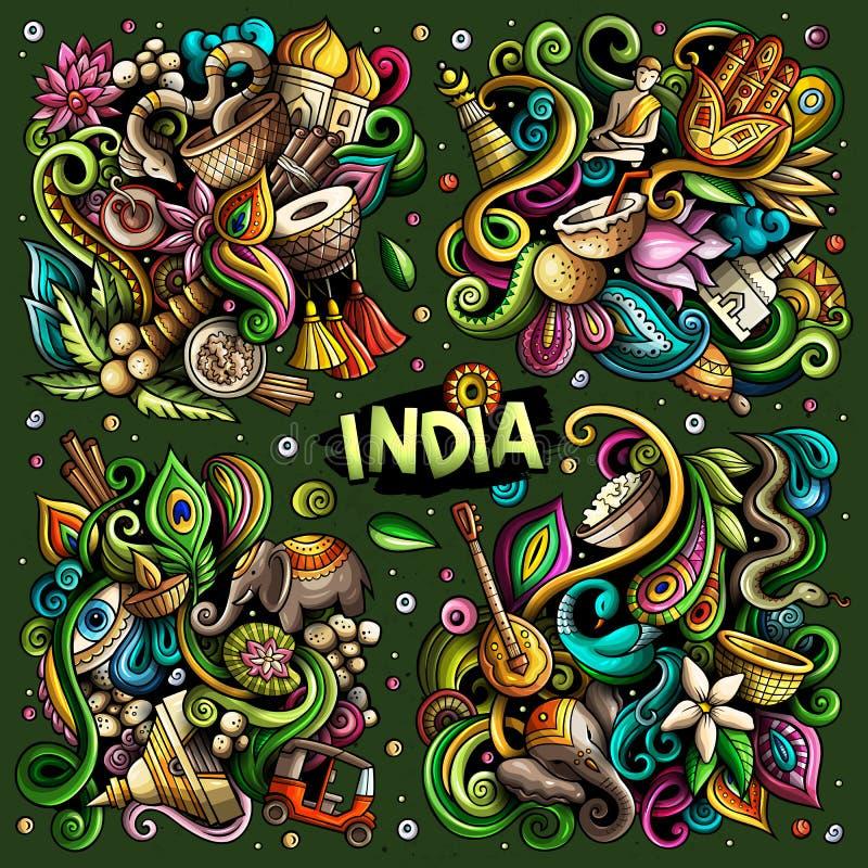 De kleurrijke vectorhand getrokken reeks van het krabbelsbeeldverhaal combinaties van India vector illustratie