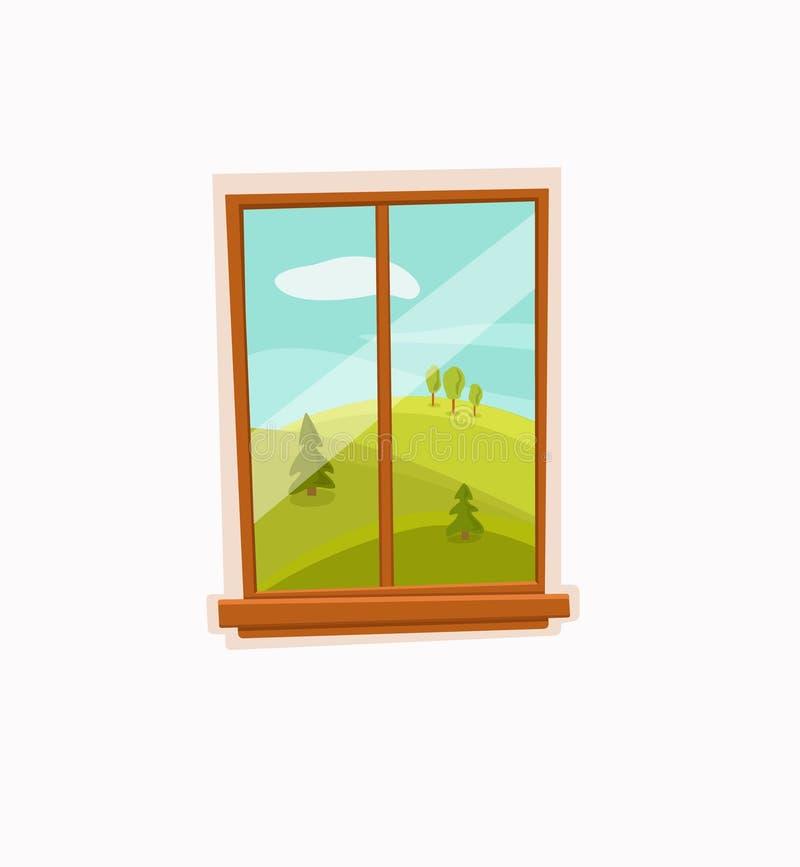 De kleurrijke vectorillustratie van het vensterbeeldverhaal met de zonlandschap van de valleizomer royalty-vrije illustratie