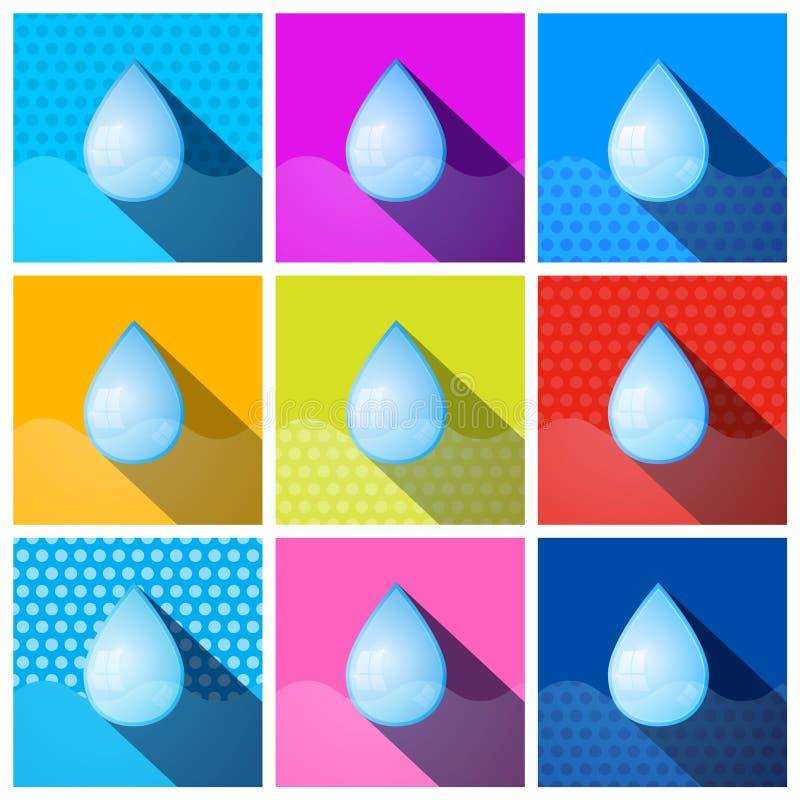 De kleurrijke Vectorpictogrammen van Waterdalingen royalty-vrije illustratie