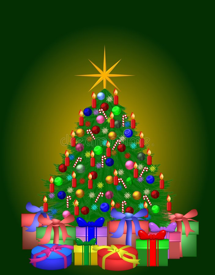 De kleurrijke Verfraaide Kerstboom met stelt voor vector illustratie