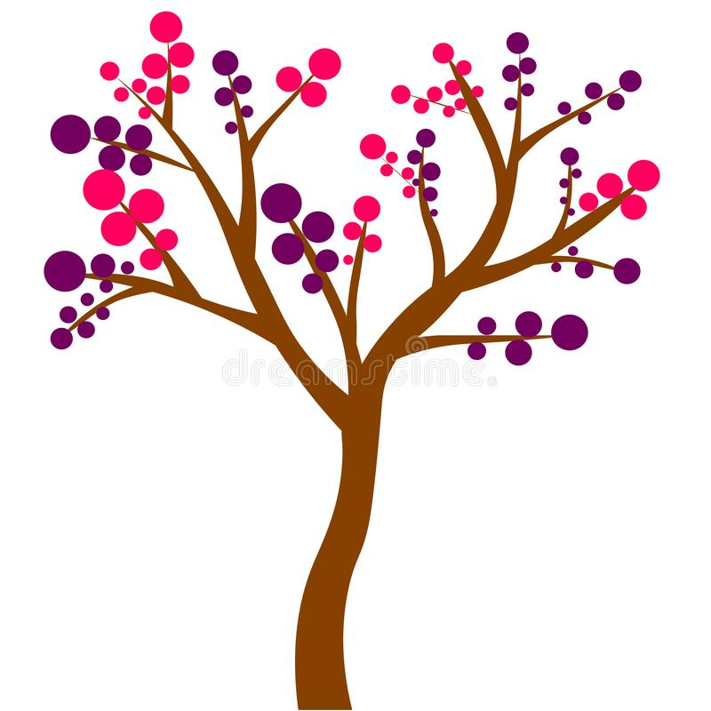 De kleurrijke vergankelijke boom met de herfst kleurde verlof vector illustratie