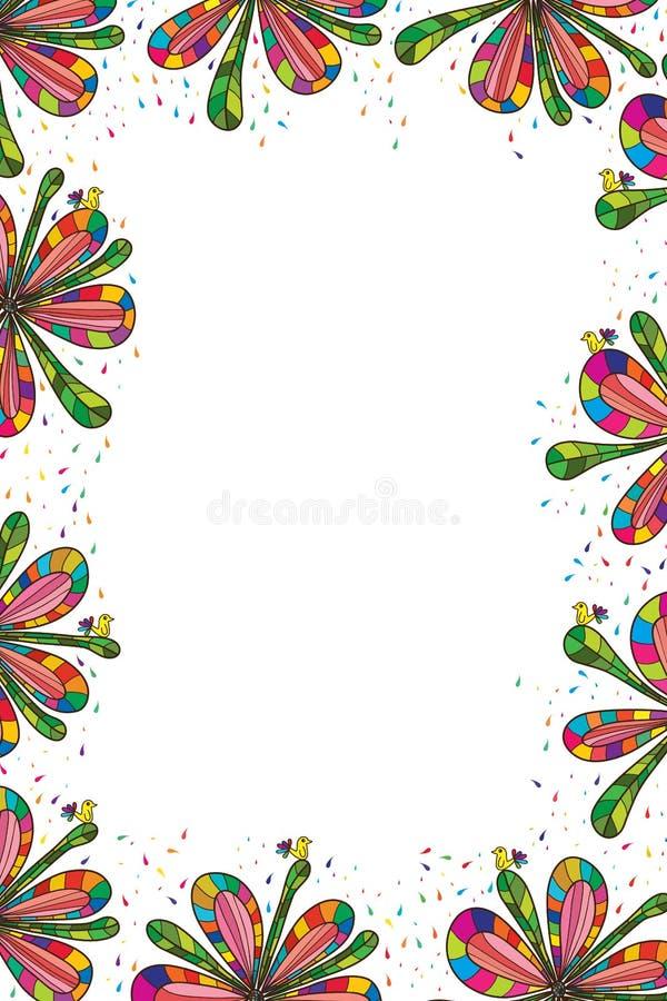 De kleurrijke verticaal van het bloemkader stock illustratie