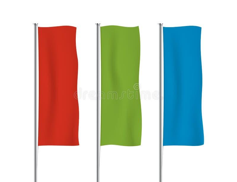 De kleurrijke verticale vectormalplaatjes van de bannervlag royalty-vrije illustratie