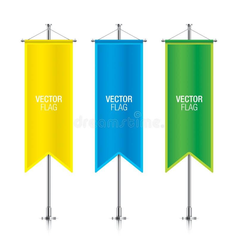 De kleurrijke verticale vectormalplaatjes van de bannervlag vector illustratie