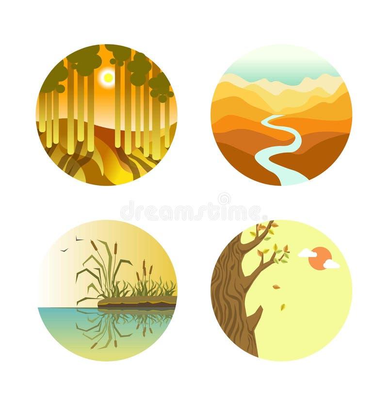 De kleurrijke vlakke vectoraffiche van landschapspictogrammen op wit stock illustratie