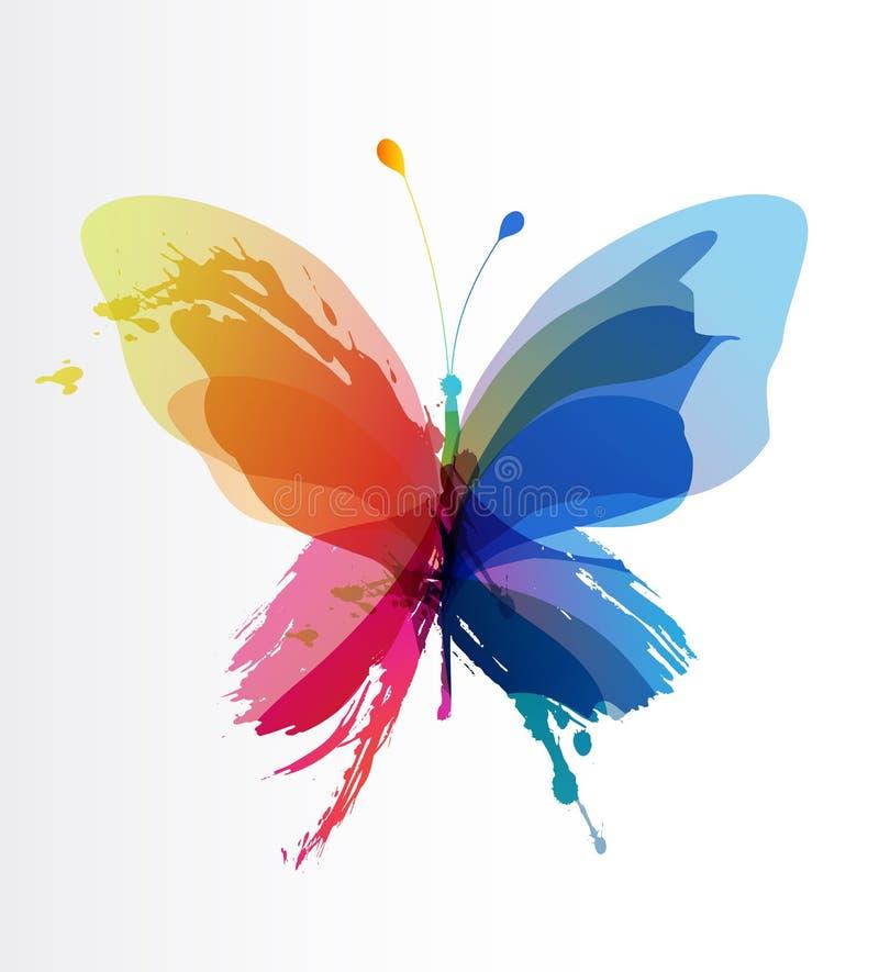 De kleurrijke vlinder leidde tot van plons en kleurde voorwerpen vector illustratie