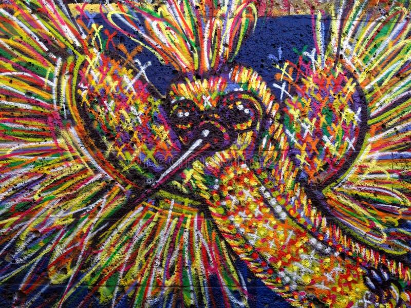 De kleurrijke vogel van de graffitikunst stock afbeelding