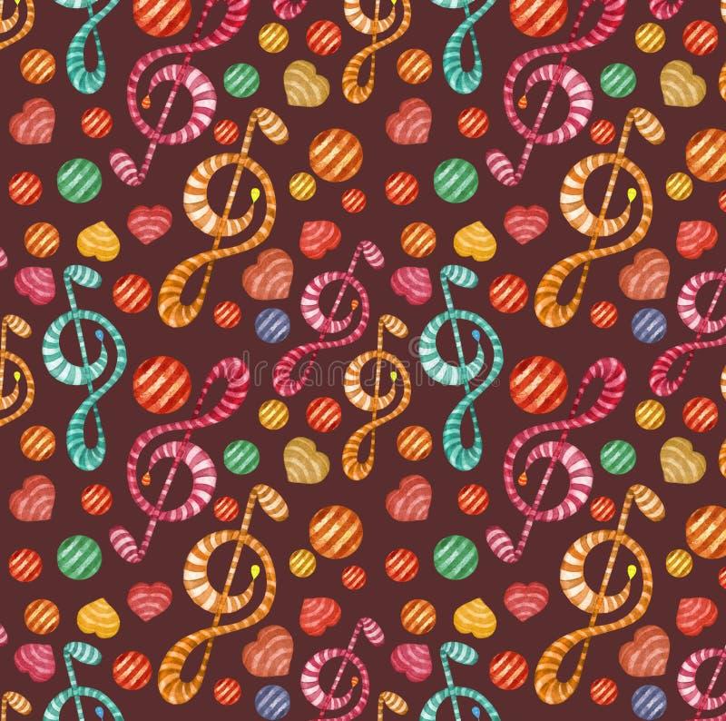 De kleurrijke waterverfmuziek neemt nota van naadloos patroon op donkere achtergrond royalty-vrije stock fotografie