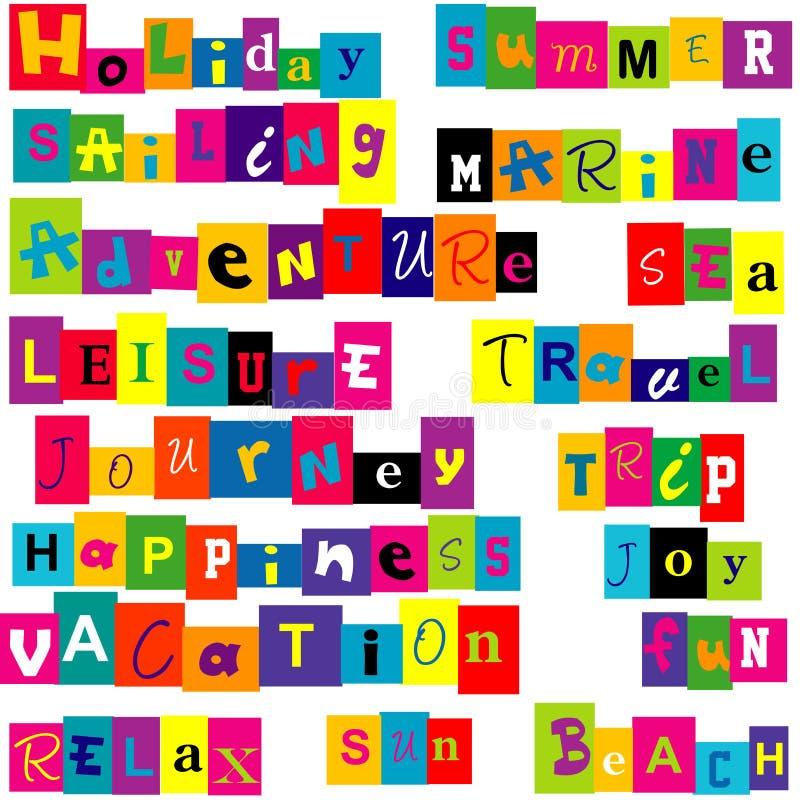 De kleurrijke woorden brengen met de zomer en vakantie met elkaar in verband royalty-vrije illustratie