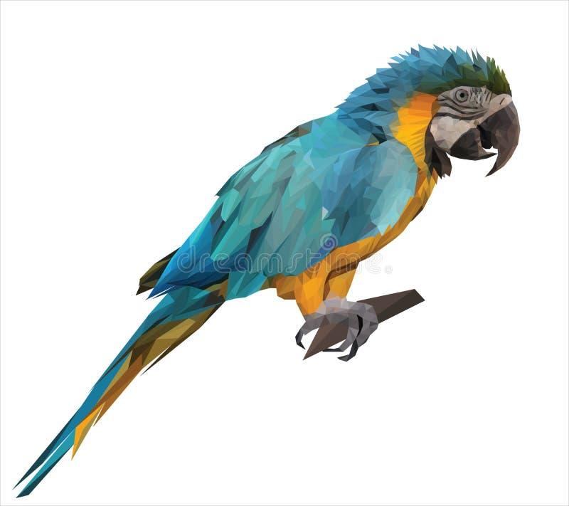 De kleurrijke zitting van de arapapegaai op een houten stok vector illustratie
