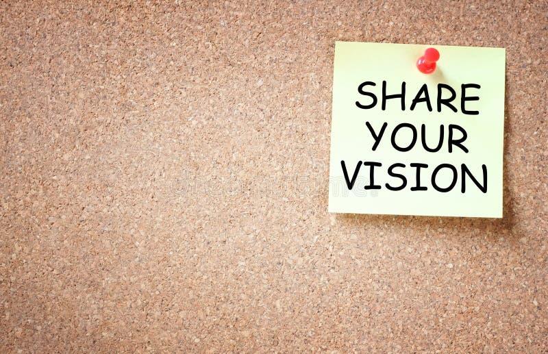 De kleverige nota met de uitdrukking ruilt uw visie, ruimte voor tekst stock afbeeldingen