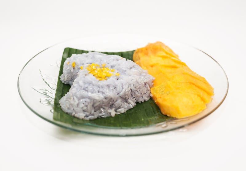De kleverige rijst van de mango stock fotografie