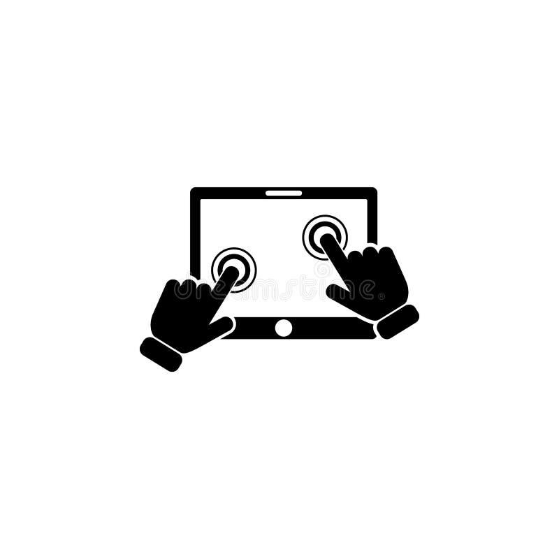De klik op het pictogram van de het schermtablet Element van de technologiepictogram van het aanrakingsscherm Grafisch het ontwer vector illustratie