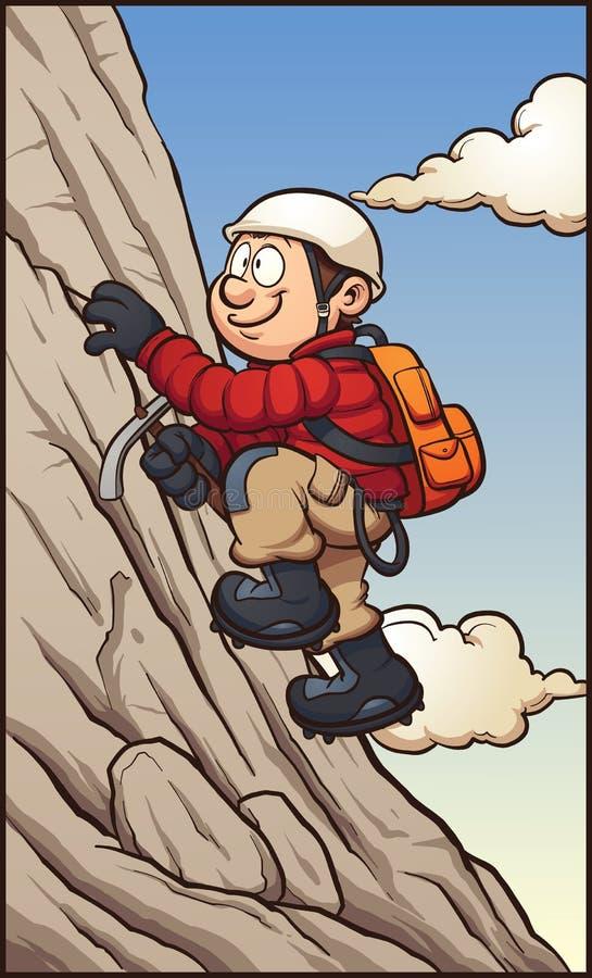 De klimmer die van de rots zich aan een klip vastklampt royalty-vrije illustratie