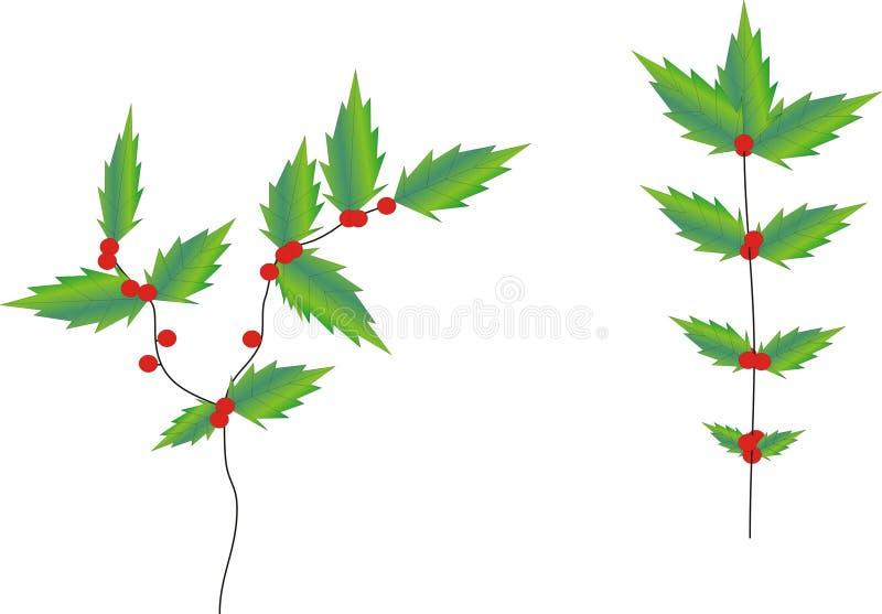 De Klimop van de Hulst van Kerstmis vector illustratie
