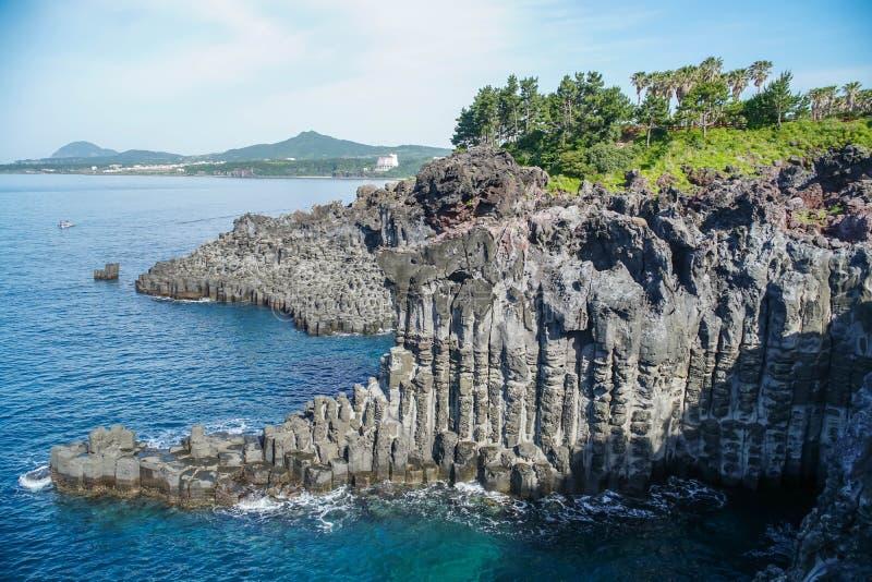 De Klip van Daepojusangjeolli op Jeju-Eiland Zuid-Korea stock afbeeldingen