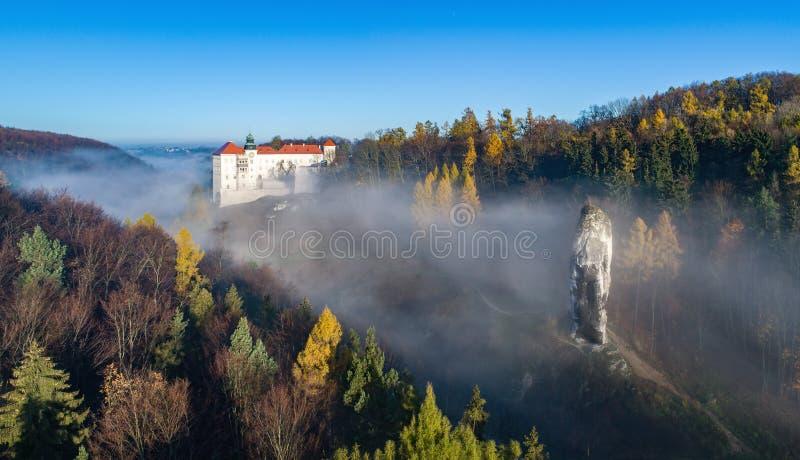 De klip van Pieskowaskala met Hercules-knuppelrots en kasteel dichtbij Krakau, Polen stock foto's