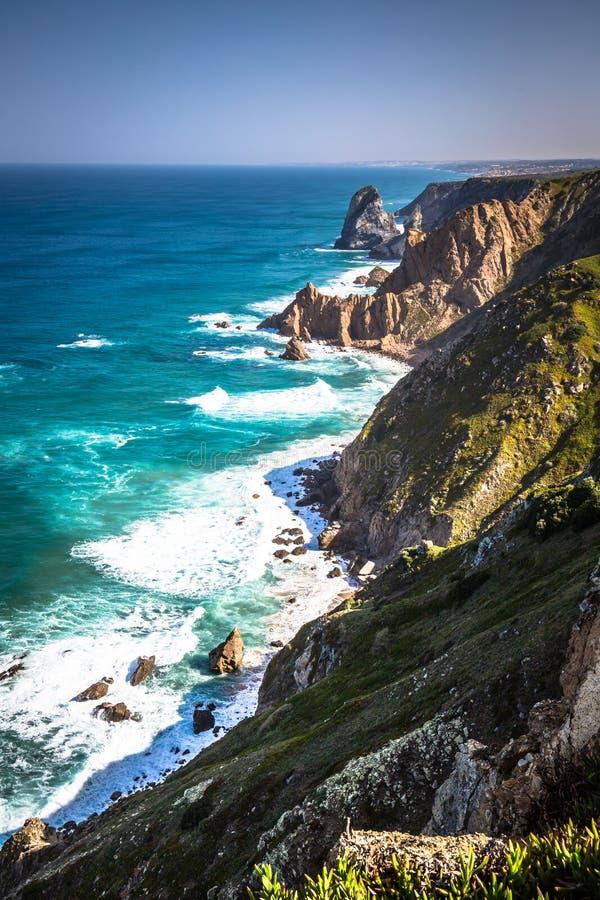 De klippen van Cabo DA Roca, Portugal Het meest westelijke punt van E royalty-vrije stock afbeelding