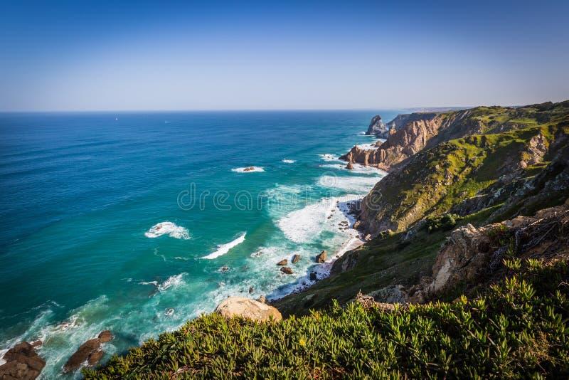 De klippen van Cabo DA Roca, Portugal Het meest westelijke punt van E royalty-vrije stock foto