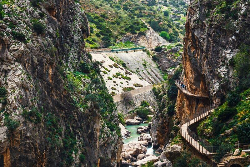 De klippen van Caminitodel rey in Andalusia, Spanje royalty-vrije stock afbeeldingen