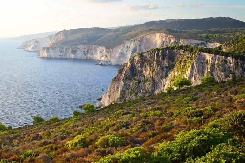 De klippen van Keri, Zakynthos, Griekenland stock afbeeldingen