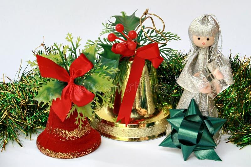 De klok en de fee van Kerstmis stock afbeeldingen
