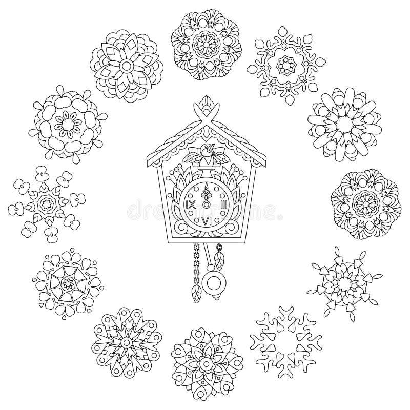 De klok en Kerstmissneeuwvlokken van de Zentanglemuur stock illustratie
